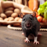 rat on a wooden table sitting in front of assorted vegetables